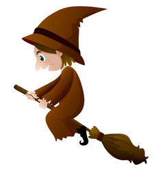 old witch in brown clothes on broom vector image
