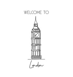one continuous line drawing welcome to big ben vector image