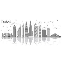 outline dubai uae city skyline with modern vector image