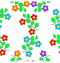 patterns of flowers and leaves vector image
