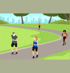 People exercise in park while practicing vector