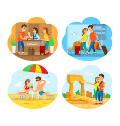people on vacation airport seaside and old town vector image