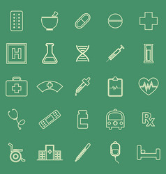 Pharmacy line color icons on green background vector