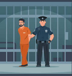 policeman arrest thief police officer and bandit vector image