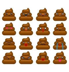 Poops avatar smile emoticon icons set isolated vector