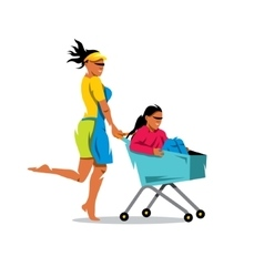 Racing on the shopping trolley cartoon vector