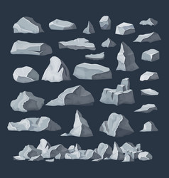 rock stones boulder piles broken rubble blocks vector image