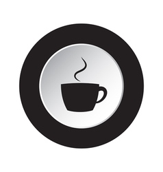Round black and white button - cup with smoke icon vector