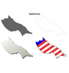 Santa Cruz County California outline map set vector