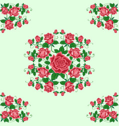 Seamless pattern bouquets red roses vector