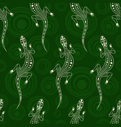 Seamless pattern lizards silhouettes vector