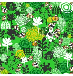 Seamless pattern with birds and bees vector image