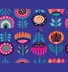 seamless pattern with scandinavian flowers vector image