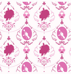 Seamless rococo style girly pink pattern with vector