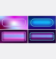 Set neon glowing frames in retro style with space vector