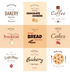 Set of 9 bakery labels vector image