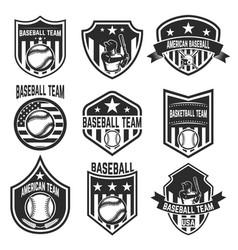 Set of baseball team emblems on white background vector