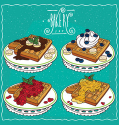 Set of belgian waffles in handmade cartoon style vector