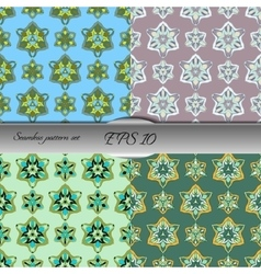 Set of elegant seamless patterns with floral and vector