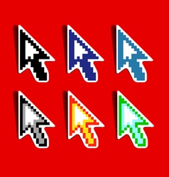 Set of pixeled cursors vector image