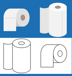 Set of tissue roll in flat design and outline icon vector