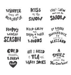 Set winter quotes and phrases hand drawn vector