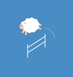 Sheep jumping over a fence jump pass obstacle vector