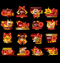 Shopping stickers set offer and discount vector
