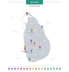 Sri lanka map with location pointer marks vector