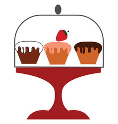 Three cup cakes or color vector