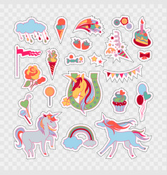 Unicorn multicolor stickers with rose cake vector