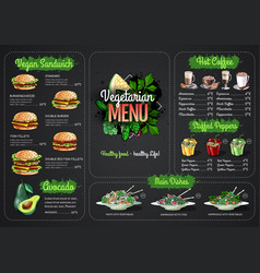 Vegetarian menu design with vegan meals vector