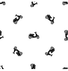 Vespa scooter pattern seamless black vector