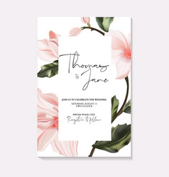 Wedding invitation frame composition with flowers vector