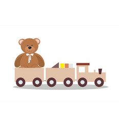 Wooden toy train and teddy bear vector