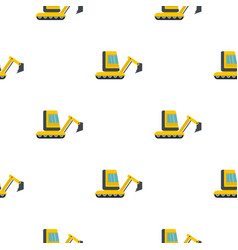 Yellow mini excavator pattern flat vector