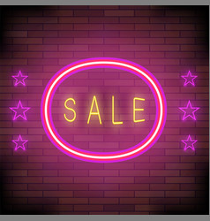 yellow neon sale sign with pink round frame and vector image