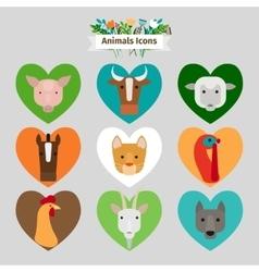 Farm animals and pets avatars vector image