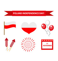 poland independence day icon set flat style vector image