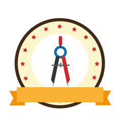 Color emblem of compass with pencil vector