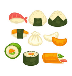 different sushi and rolls vector image vector image