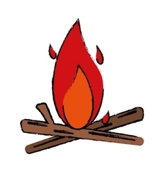 drawing bonfire wood camping design vector image