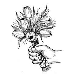 hand with flowers engraving vector image vector image