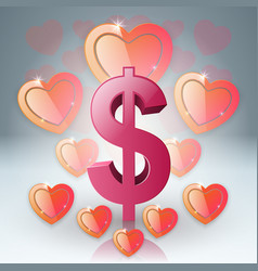 hearts and dollar valentines day dollar money vector image vector image