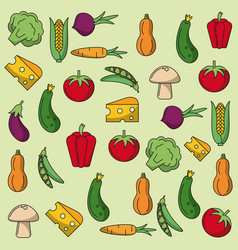 colorful background with pattern of vegetables vector image vector image
