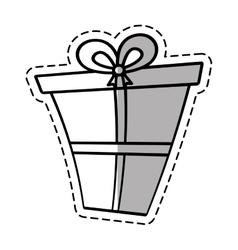 gift box ribbon give party linea shadow vector image vector image
