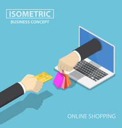 isometric businessman hand use credit card to vector image vector image