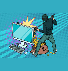 online hacker steals pound money from computer vector image