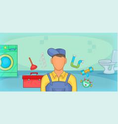 plumber horizontal banner cartoon style vector image