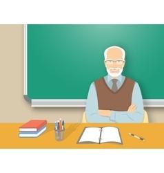 School teacher man at the desk flat education vector image vector image